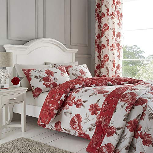 Catherine Lansfield Painted Floral Easy Care Single Duvet Set Red