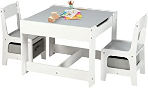 Kinder King Kids Wood Table & 2 Chairs Set, 3 in 1 Children Activity Table w/Storage, Removable Tabletop, Blackboard, 3-Piece Toddler Furniture Set for Art, Crafts, Drawing, Reading, Playroom, Grey