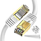 Ethernet Cable 25 ft Cat 8 Cable White Zosion Internet Cable 40Gbps 2000Mhz High Speed Gigabit LAN Network Cables with SSTP RJ45 Gold Plated Connector for Switch Router Modem Patch Modem