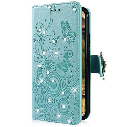 Uposao Kompatibel mit Xiaomi Redmi 5 Handyhülle Schmetterling Blumen Muster Diamant Strass Bling Glitzer Leder Wallet Schutzhülle Brieftasche Leder Hülle Klapphülle Brieftasche Tasche,Grün