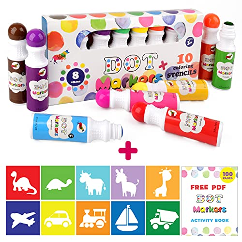 Dot Markers Kit By Vaci Markers 8 Colors Pack Set Paint Marker Washable With 10 Coloring Stencils and free PDF Activity Book, Water-Based Non-Toxic Bingo for Kids Toddlers and Preschoolers Children