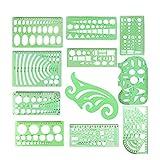 Plantillas para dibujar círculos con regla de plástico, kit de herramientas para dibujar, formas, suministros matemáticos, triángulo, plantilla ovalada para niños en casa, escuela, oficina