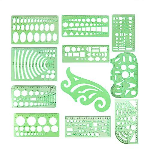 ARTSTORE Set van 11 Tekening Stencils Sjablonen Set, Plastic Ruler Drafting Tools Kit Tekening Vormen Levert Wiskunde Driehoek Ovale Sjabloon voor Kinderen op Home School Office