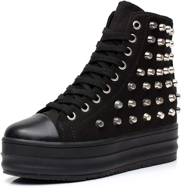 MIKA HOM Women Casual Canvas Sneakers Platform Hidden Heels Sporty shoes