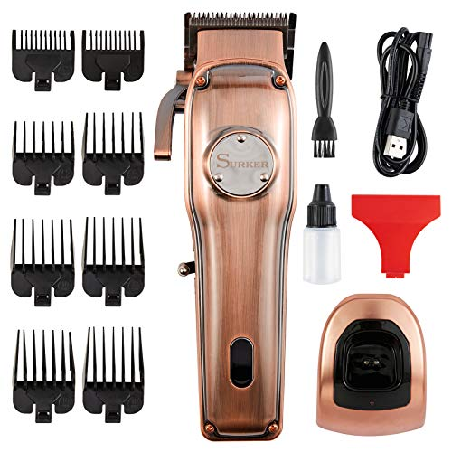 SURKER Professional Hair Clippers, For Hair Cutting, Beard Trimmer, Barber Grooming Kit - Rechargeable, Cord and Cordless, Led Display, Fashing Bronze Color, with Hair Accessories, For Men, Women