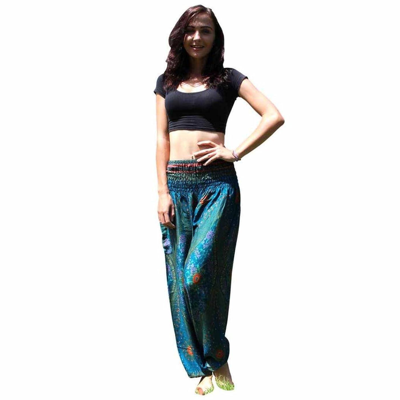 予見するお茶スキーMhomzawa パンツ男性女性タイのハレムのズボンフェスティバルヒッピーのスモックハイウエストのパンツのタイハーレムヨガ?パンツ