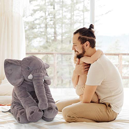 JYSPT Weiche Elefant Plüsch Spielzeug Kissen Puppe, Cartoon Baby Schlafpuppe, Kissen für Kinder Weihnachten Weihnachtsfeier Tischdekoration Geschenke Grau