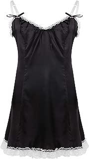 inlzdz Men's Adult Baby Satin Spaghetti Straps V-Neck Dress Sissy Crossdress Lingerie Nightwear
