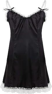 CHICTRY Men's Sissy Soft Satin Sleeveless V-Neckline Low Back Romper Pajamas Nightdress
