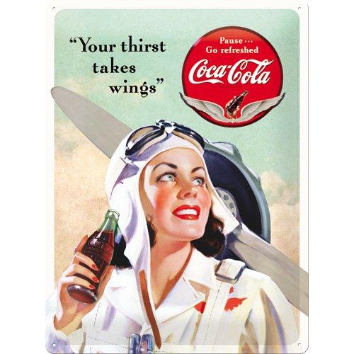 Nostalgic Art Coca-Cola – Takes Wings Lady – Geschenk-Idee für Coke-Fans Blechschild 30x40 cm, aus Metall, Bunt, 30 x 40 cm
