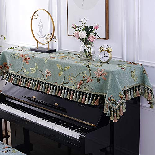 Best Bargain Fashion Piano Cover European Piano Half Cover Dustproof Cloth with Stool Cover Fabric E...