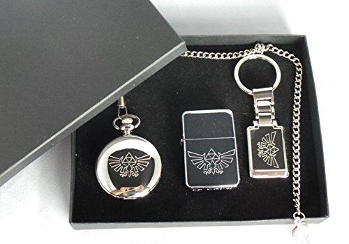 Zelda, GPO Groupe plaqué argent Coffret cadeau exclusif demi Hunter, Zelda Logo, Ciseau de maçon pour de Londres Montre de poche, Logo de Legend of Zelda Briquet à essence en métal poli et plaqué argent porte-clés Nintendo, Zelda dans une boîte de présentation