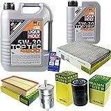 Liqui Moly - Set di filtri per l'ispezione di 6 litri di olio motore Top Tec 4200 5W-30 MANN-FILTER per abitacolo del carburante, filtro dell'olio
