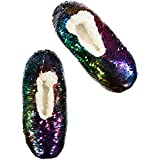 Fuzzy Babba Women's Sequin Slipper Socks, Rainbow/Silver sparkle-996HP, S/M fits Shoe Size: 5.5-7.5