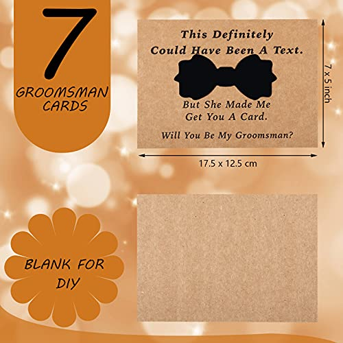 8 Pieces Groomsmen Proposal Cards with Tie and Envelope, 7 Will You Be My Groomsman Cards and 1 Will You Be My Best Man Asking Card Invitation Funny Groomsman Cards for Wedding, 7 x 5 Inch Photo #3