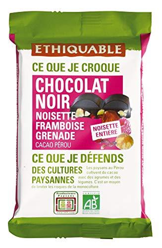 Ethiquable Chocolat Noir 65% Noisettes Entières Framboises Grenades Pérou Bio 100 g