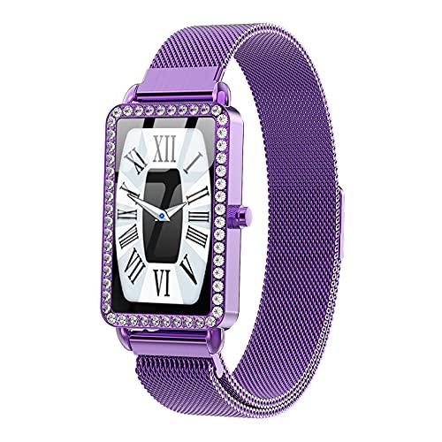 QFSLR Smartwatch Reloj Inteligente IP67 Impermeable, con Monitor De Frecuencia Cardíaca Monitor De Presión Arterial Monitoreo De Oxígeno En Sangre Reloj Deportivo,Púrpura