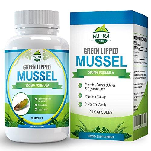Grünschalmuschel Extrakt, Potentes Grünlippmuschel Nahrungsergänzungsmittel stärkt Gelenke & Immunsystem, Fördert die Gelenkbeweglichkeit, 500mg - 90 Kapseln