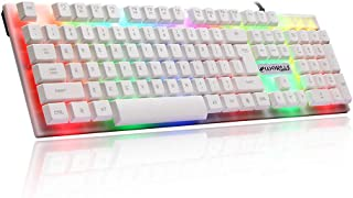 GOURCE 104 Keys USB Wired Pro Gaming Keyboard with 7 Colors LED Backlit Gaming Keyboard for PC Desktop White Glow Version