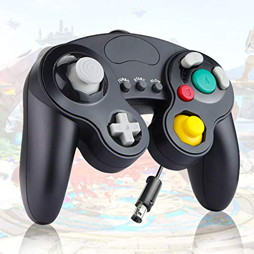 【Upgraded】 Gamecube Controller, Classical Gamepad for Nintendo Switch Gamecube/Wii U/Wii with HD Vibration, TUBRO Function, 1.8m Cable and Dual 360º Joysticks (Black)