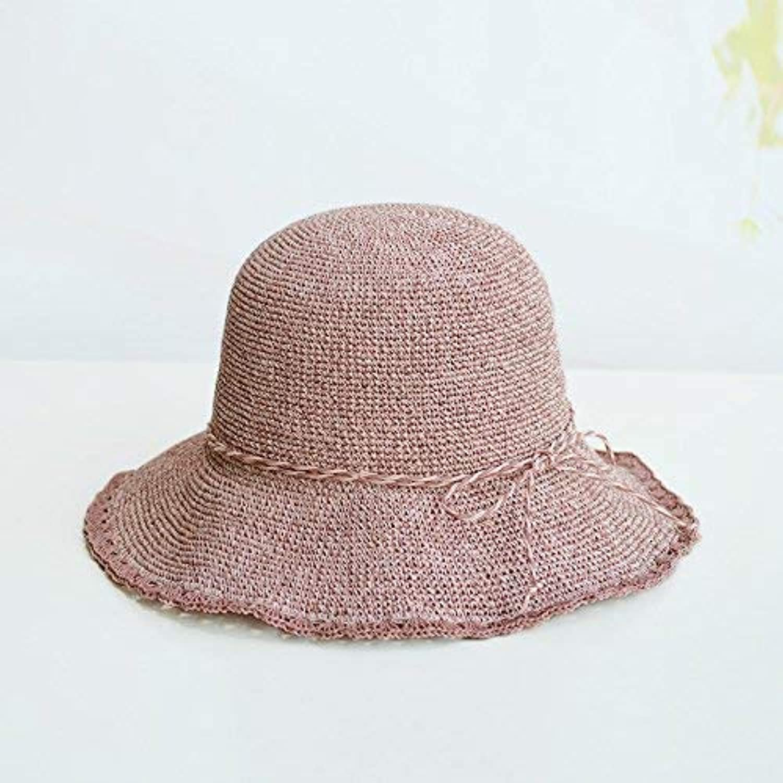 Beach Hat Ladies Summer Sunshade Folding hat Straw hat Outdoor Beach Beach Sun hat Summer Sun Hat (color   B)