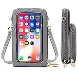 Jangostor Bolsa de teléfono celular con pantalla táctil, billetera cruzada para teléfono celular con bloqueo RFID, portatarjetas, billetera, pequeños bolsos de hombro para mujeres(C-Gris)