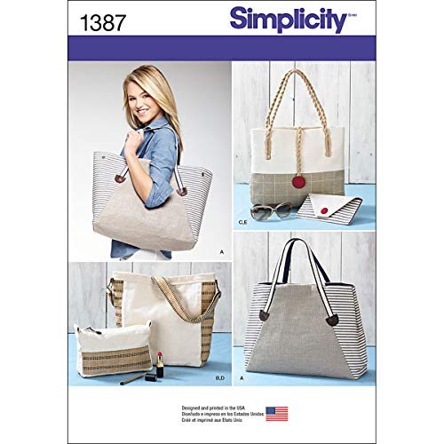 Simplicity 1387 Assorted Tote Bag, Purse, and Clutch Sewing Patterns, One Size Only