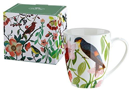 GILDE Tasse Teetasse Kaffeetasse Frühstückstasse mit Blumen Vogeldekor, 300 ml