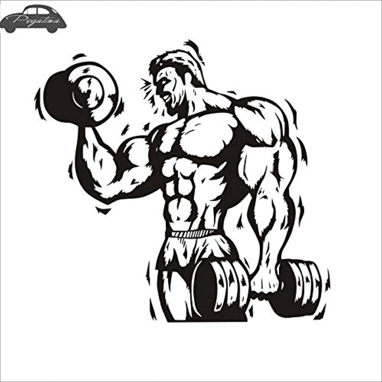 Car Gym Sticker Fitness Dumbbell Decal BodyBuilding Posters Vinyl Wall Decal  (color Name , Size  58x62cm)