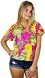 King Kameha Funky Hawaiian Blouse Shirt, Shortsleeve, Pineapple, Pink, L