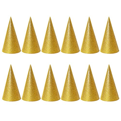 NUOLUX 12 Stücke Gold Kegel Hüte Glitter Dreieck Geburtstag Party Hüte für Kinder und Erwachsene