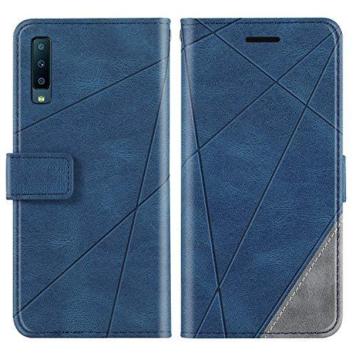 KKEIKO Hülle für Galaxy A7 2018, Brieftasche PU Leder Schutzhülle Klapphülle Tasche mit Kartensteckplatz, Stoßfest TPU Hülle für Samsung Galaxy A7 2018 - Blau