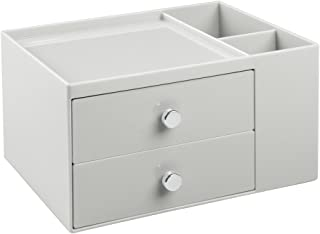 iDesign 2-Drawer Cosmetic Organizer for Makeup, Beauty Products - Light Gray