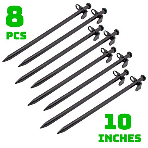 Hominize Camping Tent Stakes - Heavy Duty Metal Ground Pegs - Set of 8 pcs - 10 inches - Black