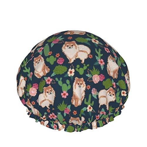 Gorro de ducha reutilizable para mujer, impermeable, para salón de belleza, spa, tamaño mediano (cactus, perro, cactus, floral, lindo perro)