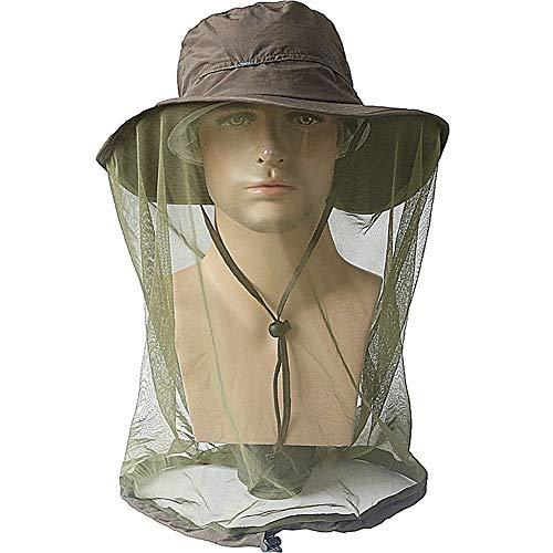 KISSBELLY Moskitonetz Hut Imker Hut Gesicht und Sonnenschutz Fischerhut mit verstecktem Netz Schutz für Outdoor Unisex, 3. Armeegrün