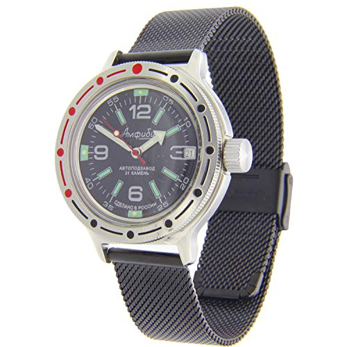 Vostok Amphibian #420640 - Reloj automático de buceo, color negro