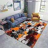 Violetatelier Home Area Rug, Orange and Grey Paint Splatter Rugs for Living Room Bedroom Dining Room Playroom Sofa Indoor, 63x94 Inch