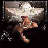 MHFG Cuadro de diamantes 5D de 30 x 40 cm, diseño de mujer con sombrero, gran imagen redonda, piedras brillantes, kit de punto de cruz, para niños, principiantes, sin marco