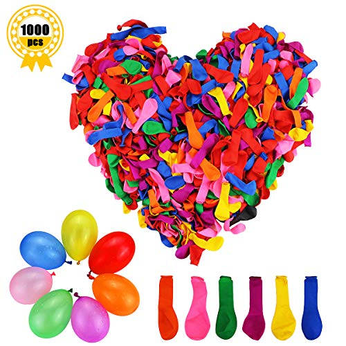 Kuqqi 1000 Pcs Latex Water Balloons,Water Bomb Game Fight Birthday Party Fun Rainbow Balloons,Assorted Color