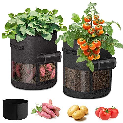 I-WILL Pflanzen Tasche 7 Gallon Pflanzenanbaubeutel mit 360° Visualisierung, Vliesstoff Kartoffelanbaubeutel Stoff Pflanzgefäße Töpfe Gartenpflanzbeutel für Blumen Fruchtblume Tomaten Karotte, 2 Pack