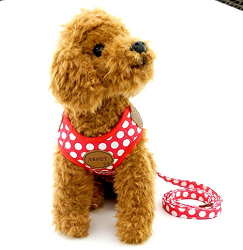 SELMAI Polka Dots Dog Vest Harness Leash Set Paw Patch Mesh Padded No Pull Leads for Small Dog Puppy Cat Red S