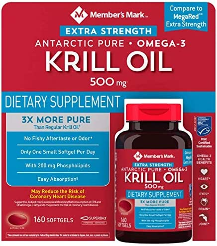 Member s Mark Extra Strength Antarctic Pure Omega 3 Krill Oil 500 mg 160 ct product image