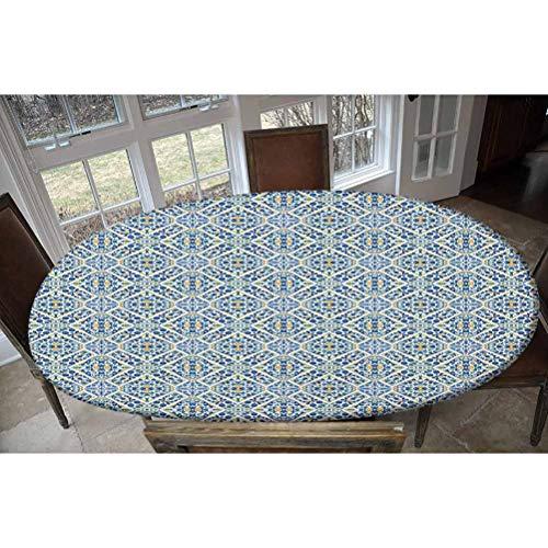 LCGGDB Mantel ajustable de poliéster elástico, azulejo portugués floral, estilo medieval, estilo marroquí, estilo retro, rectangular, ovalado, para mesas de hasta 122 cm de ancho x 172 cm de largo.