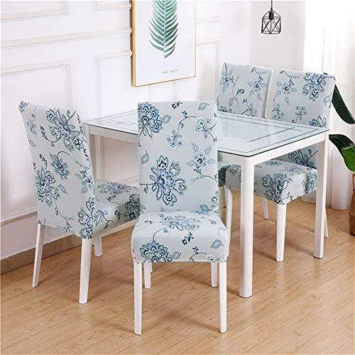 YGLONG Stuhlhussen Dining Chair Abdeckung Spandex Elastic Pastoral Moderne Slipcovers Abdeckhaube Küche Hochzeit Housse De Chaise 4 / 6PCS Drucken (Color : Color 10, Specification : 4 Pieces)