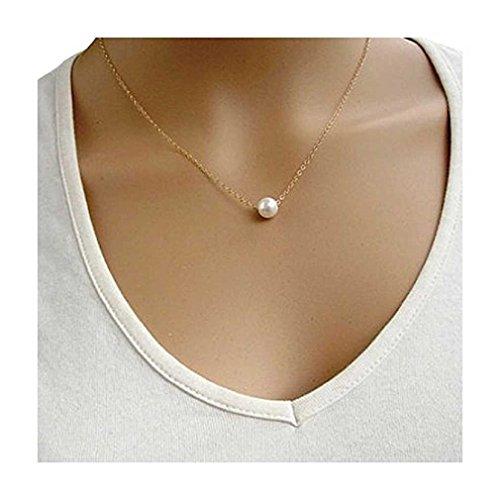 Liquidazione offerte, Fittingran Le Donne imitano i Gioielli Dichiarazione Choker Bavero Collare Perla (Oro)