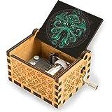 niaoyun - Gran caja de música de manivela de madera Cthulhu V1, caja de música clásica antigua tallada caja musical el mejor regalo para cumpleaños, Navidad, día de San Valentín