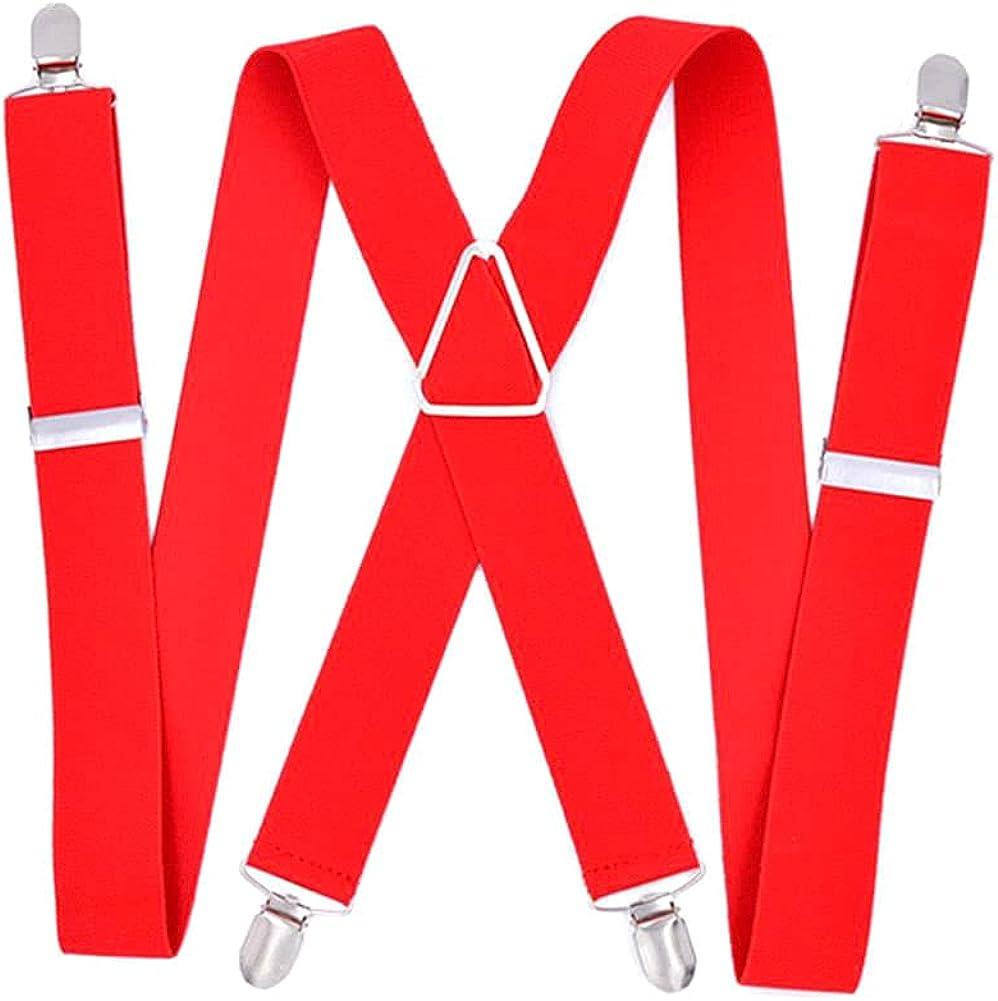 Suspenders Big Men Adjustable Elastic X Back Pants Women Suspender For Trousers 55 Inch Clips On Red