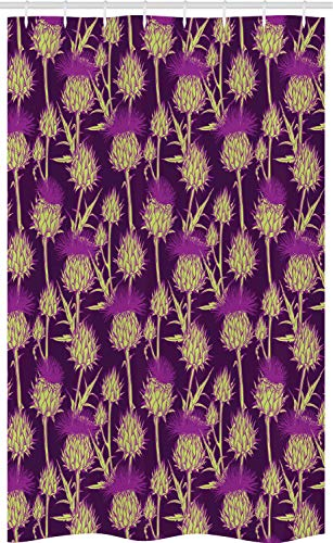 ABAKUHAUS Distel Schmaler Duschvorhang, Leuchtende Farbe Scottish, Badezimmer Deko Set aus Stoff mit Haken, 120 x 180 cm, Gelb Grün & Lila