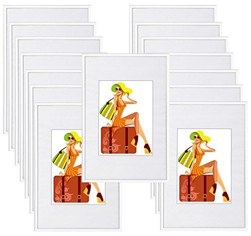 WOLTU #315 Bilderrahmen Bildergalerie Fotogalerie mit Passepartout, Foto Collage Galerie, Kunststoff und Echtglas, New Life Style, Weiss, 10x15 cm, 15er Set